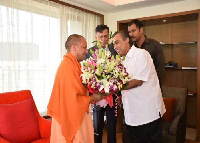 Yogi with Mukesh Ambani