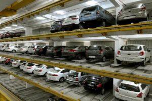 multi-level robotic car park